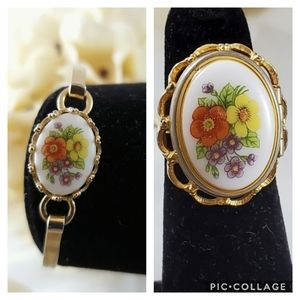 Avon French floral locket ring and bracelet 1975